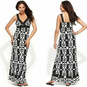 🆕 INC Beaded Crochet Geometric Print Maxi Dress